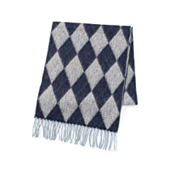 Lambswool Angora Argyle Scarf 070-09221: Light Blue
