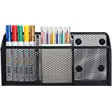 Magnetic Pencil Holder - 3 Generous Compartments Extra Strong Magnets Mesh Marker Holder Perfect for Whiteboard, Refrigerator