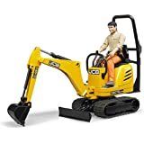 Bruder Toys - Construction Realistic JCB Micro Excavator 8010 CTS and Bworld Construction Man Action Figure (Figure Colors Ma