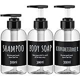 Shampoo Dispenser Bottle, Segbeauty 3pcs 10.1oz/300ml Plastic Pump Bottle Dispenser, Refillable Shampoo Pump Bottles for Show