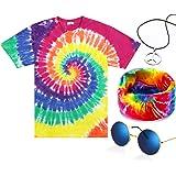 4PiecesHippieCostumeSet,IncludeColorfulTie-DyeT-Shirt,PeaceSignNecklace,HeadbandandSunglassesforThemeParties
