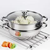 Steamer Pot Stainless Steel 2 Tier - 28cm Steamer Pot w/Glass Lid Food Veg Cooker Pot Cooking Pan Steaming Pot Dim Sum Cookwa