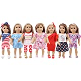 ZWSISU 7 Outfits Doll Clothes Fits American Girl Doll, Our Generation, Journey Girls Dolls by