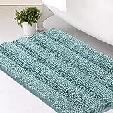 Chenille Bath Mat Non Slip Bath Mat for Bathroom Extra Thick Soft Striped Bath Rug Water Absorbent Shag Carpet for Bathroom -