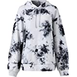 Grneric Women's Tie Dye Casual Long Sleeve Hooded Pullover