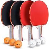 Abco Tech ピンポンパドル&卓球セット – プレミアムラケット4個と卓球ボール6個パック – ソフトスポンジゴム – プロやレクリエーションゲームに最適 – 2人または4人