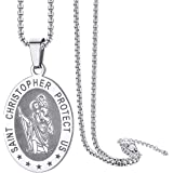 """ChainsPro St. Christopher Medal Necklace for Men, with Chain-22+2"""", Crafted Saint Christopher Protect US, Can Custom, Stainle"""
