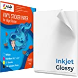 Printable Vinyl Sticker Paper for Inkjet Printer - Glossy White - 15 Self-Adhesive Sheets - Waterproof Decal Paper - Standard