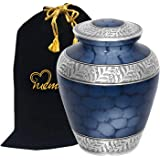 Memorials4u Elite Cloud Blue and Silver Cremation Urn for Human Ashes - Adult Funeral Urn Handcrafted - Affordable Urn for As