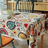 mixcoke Ethnic Style Print Tablecloth Cotton Linen Rectangular Washable Dinner Picnic Table Cloth with White Lace 90x140cm