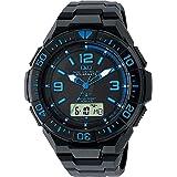 [シチズン Q&Q] 腕時計 アナログ 電波 ソーラー 防水 日付 ウレタンベルト MD06-335 メンズ ブラック…