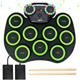 Electronic Drum Kit 9 Pads Roll-up Practice Drum Set With Colorful Lights for 8h Playing With Built-in Speaker, Headphone, US