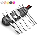 Portable Utensils Silverware Flatware Set, 8-Piece Cutlery Set Including Knife Fork Spoon Chopsticks Cleaning Brush Straws Po