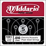 D'Addario PL010-5 Plain Steel Guitar Single String.010 5-pack