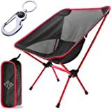 AUSELECT Camping Chair, Folding Chair Lightweight & Heavy Duty 140kg Capacity with Carry Bag for Beach, Hiking, Black & Red