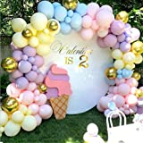 LDFWAYAU 122Pcs Rainbow Balloon Arch Garland Kit - Pink Gold Yellow Blue Purple Latex Balloons with Balloon Accessories for B