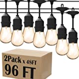 Magictec LED Shatterproof String Lights Commercial Grade with 15 Hanging Sockets 48 Ft Black Outdoor Weatherproof Cord Strand