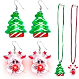 14Pack Christmas Light Necklace LED Christmas Bulb Necklace Glow in The Dark Party Favors Necklace Ugly Xmas 6 Flashing Modes