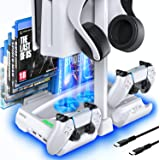 OIVO PS5 Cooling Station with Controller Charger and Headset Holder, Playstation 5 Vertical Cooling Stand with Cooler Fan,PS5