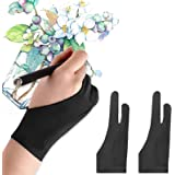 Mixoo Artists Gloves 2 Pack - Palm Rejection Gloves with Two Fingers for Paper Sketching, iPad, Graphics Drawing Tablet, Suit