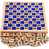 umbresen Wooden Toys Hundred Board Montessori 1-100 Consecutive Numbers Early Childhood Toys Digital Board for Kids with Stor