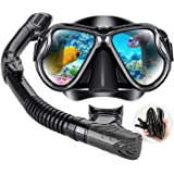 DIVE&SAIL Snorkel Set for Women and Men, Swimming and Scuba Diving, Anti Leak Dry Top Snorkel Gear Panoramic Silicone Goggle
