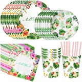 DreamJ 93Pack Hawaiian Party Supplies, Hawaiian Luau Party Disposable Tableware with Plates Cups Napkins Straws for Birthday