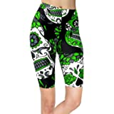 sissycos Women's Sugar Skull Printed Biker Shorts Halloween Buttery Soft Workout Leggings