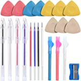 Tailors Chalk,Sewing Fabric Chalk and Fabric Markers for Quilting,10PCS Tailor's Chalk,4PCS Heat Erasable Fabric Marking Pens