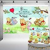 Classic Winnie The Pooh Supplies Photography Backdrop 5x3ft Newborn Baby Shower Cartoon Animals Baby Boys Girls Birthday Part