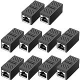 RJ45 Coupler, in Line Coupler Cat7/Cat6/Cat5e Ethernet Cable Extender Adapter Female to Female (10 Pack Black)