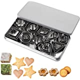 JYDirect 30 Pieces Mini Cookie Cutters, Geometric Shapes Metal Cookie Biscuit Cutter Set, Star Flower Round Square Triangle H