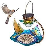 Solar Bird Feeder for Outside Hanging Wild Birdfeeders Seed Tray Outdoor Solar Powered Garden Light Metal Butterfly Decorativ