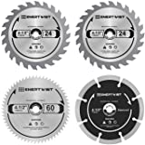 Enertwist 4-1/2 Inch Compact Circular Saw Blade Set, Pack of 4-Pieces TCT/HSS/Diamond Saw Blades Assorted for Wood/Plastic/Me