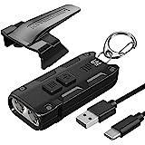 Nitecore Tip SE Black 700 Lumen USB-C Rechargeable EDC Keychain Flashlight with Lumentac Charging Cable