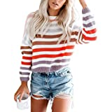 OWMMIZ Women Pullover Sweaters Long Sleeve Crew Neck Striped Color Sweater Block Casual Knitted Sweater Tops