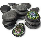 Umikk 26 Craft Stones for Rock Painting,Aquarium Pebbles,Large Decorative Ornamental River Pebbles Rocks for Home Decor, Land