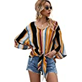 Floerns Women's Striped Off Shoulder Bell Sleeve Knot Front Chiffon Blouse Top