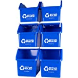 6 Pack of Bins - Blue Stackable Recycling Bin Container with Handle 6 Gallon