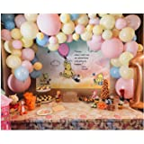 Pastel Pink, Yellow and Blue Balloon Garland Kit, 102 pcs Latex Balloons Arch Kit for Baby Shower Girl's Princess Birthday We