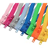 Meillia 8PCS Two Way Separating Jacket Zippers for Sewing Coat Clothes Jacket Zipper Heavy Duty Plastic Zippers Bulk in 8 Col