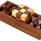 Artncraft 3-in-One Wooden Puzzle Games Set - 3D Puzzles for Teens and Adults - Includes Wood Interlocking Blocks, Diagonal Bu