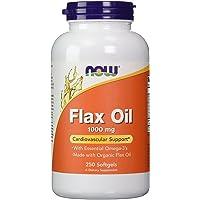 NOW Foods 【大容量】フラックスオイル(亜麻仁) 1000mg 250粒 Flax Oil 1000mg [並行…