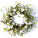 """22"""" Cotton Wreath Farmhouse Natural Cotton Boll Rustic Floral Round Wreath with Artificial Green Leaves for Outdoor Indoor We"""