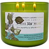 T & H Eucalyptus Spearmint Aromatherapy Candle Stress Relief Soy Wax Essential Oils 3-Wick Candle 80 Hour Burn 16 oz Mild Nat