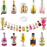 Collect Present Wine and Champagne Bottle Balloons – 12 Foil Alcohol Balloons with Beers & Cheers Banner – 21st Birthday, Bac