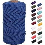 NOANTA Royal Blue Macrame Cord 3mm x 109yards, Colored Macrame Rope, 3 Strand Twisted Cotton Rope Macrame Yarn, Colorful Cott