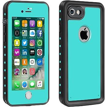 Eonfine-正規品 iPhone 7 用 防水ケース 100%防水 クリアな音質 アイフォン7ケース 防水 防塵 耐衝撃 完全防水 防雪 耐震 落下防止 IPx68 指紋認証対応 個性的 7カバー ティール