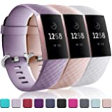 Wepro Waterproof Bands Compatible with Fitbit Charge 3 and Charge 3 SE, 3-Pack for Women Men, Small, Large
