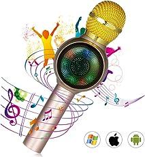 Avatool カラオケマイク Bluetooth ワイヤレスマイク 高音質 ポーターブルスピーカー 無線マイク ブルートゥース 一人でカラオケ イヤフォンジャック付き 録音可能 日本語説明書付き (ゴールド)